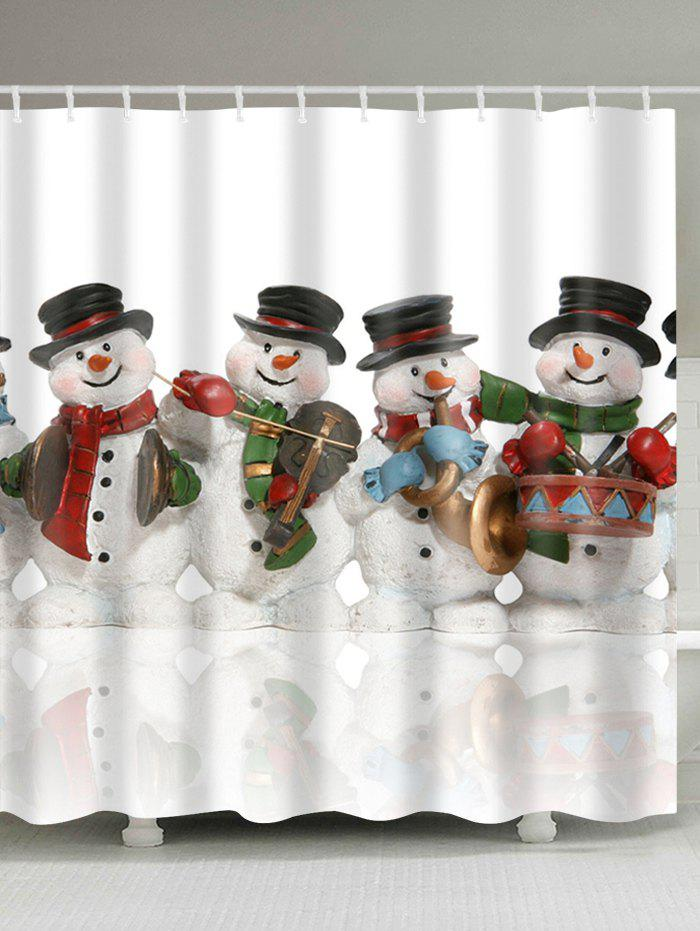 Waterproof Christmas Snowman Printed Bathroom Shower Curtain waterproof christmas snowman pine pattern shower curtain