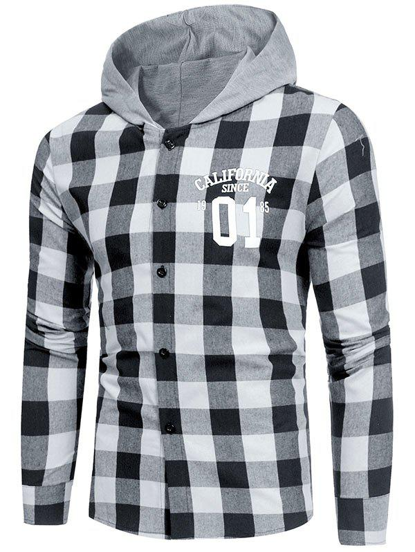 Graphic Print Long Sleeve Hooded Plaid Shirt - WHITE S