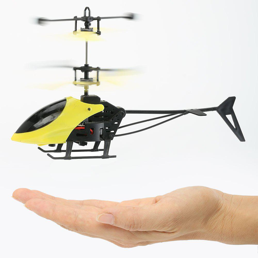 Creative Flash Light Mini Infrared Induction Flying Helicopter - YELLOW