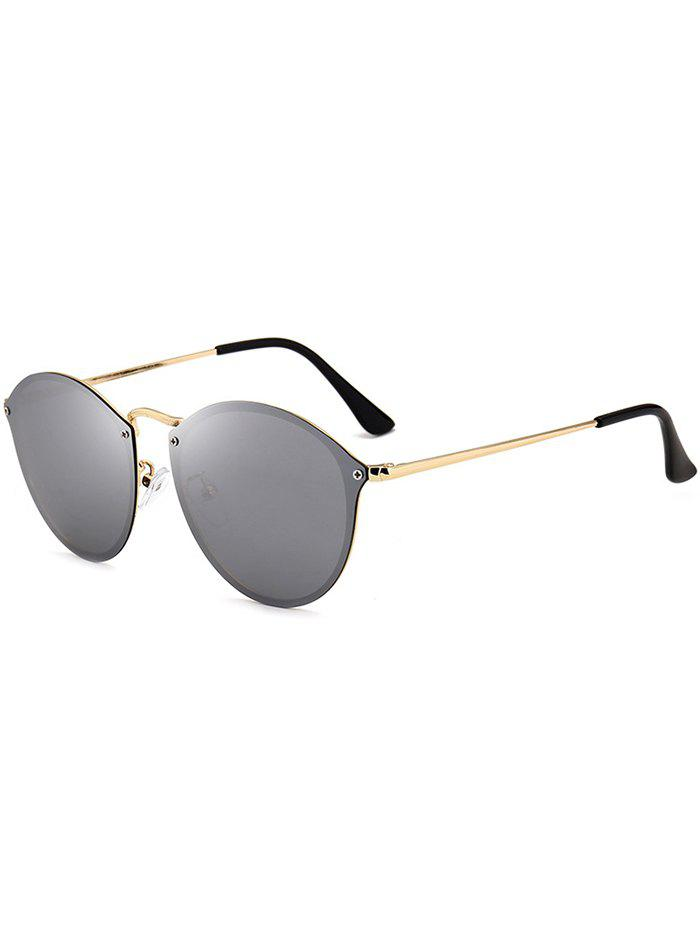 Cat Eye Anti UV Mirrored Sunglasses - GOLD FRAME / SILVER LENS