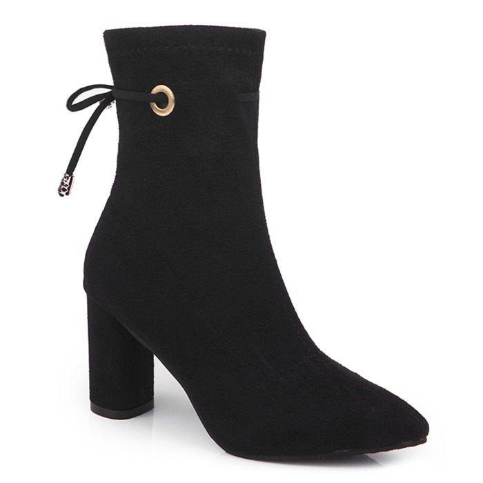 Chunky Heel Tie Up Suede Ankle Boots - BLACK 38