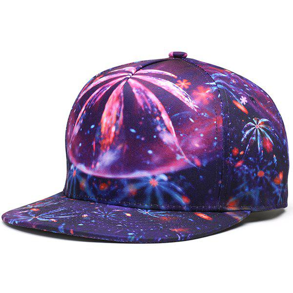 3D Print Hiphop Snapback Cap - PURPLE
