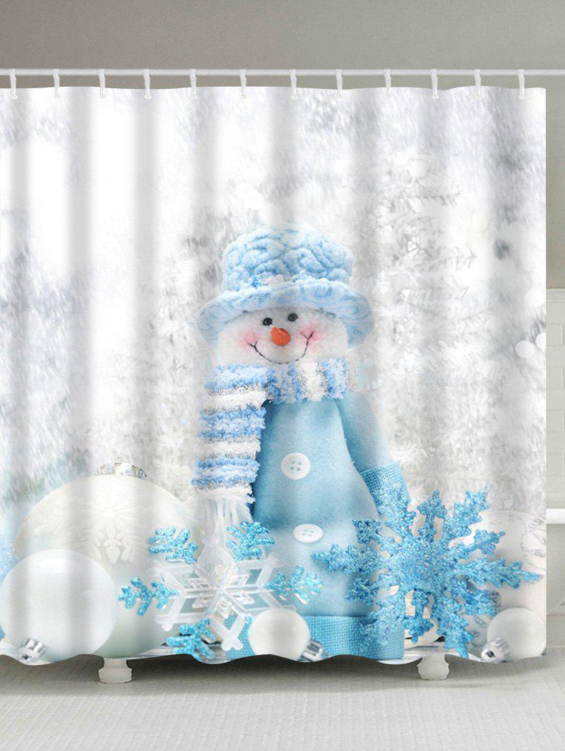 Winter Snowman Print Fabric Waterproof Bath Shower Curtain 12 pcs resin bubble bath print shower curtain hooks