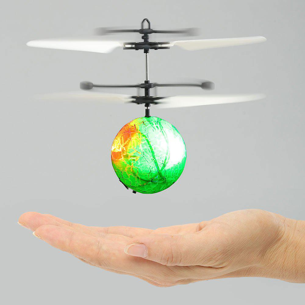 Creative Infrared Induction Colorful LED Flash Flying Ball - GREEN