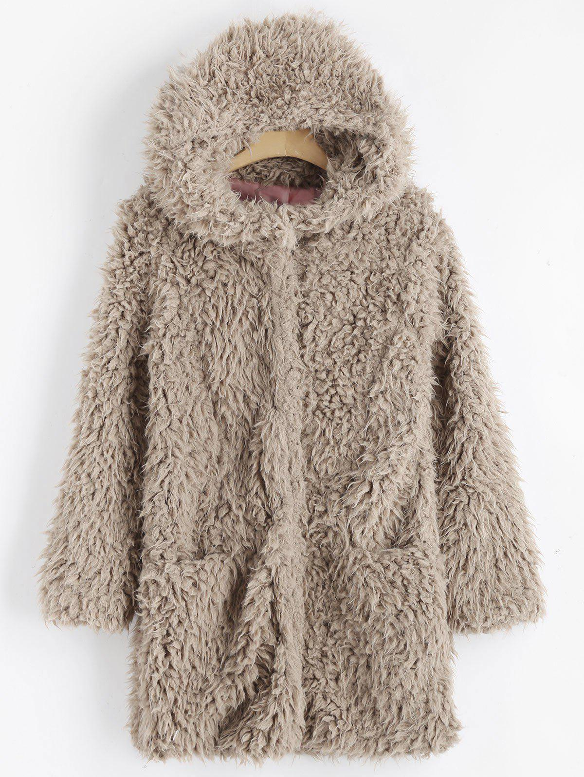 Faux Lamb Wool Hooded Coat with Pocket - LIGHT KHAKI L