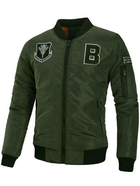 Sleeve Pocket Patch Design Bomber Jacket - ARMY GREEN L