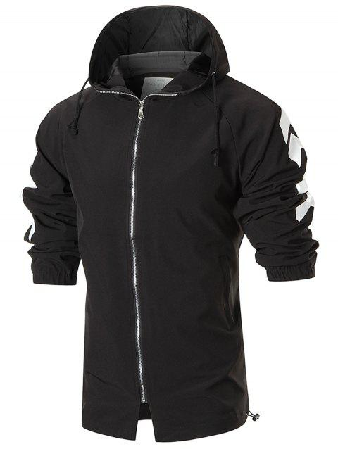 Graphic Back Zip Up Hooded Jacket - BLACK M
