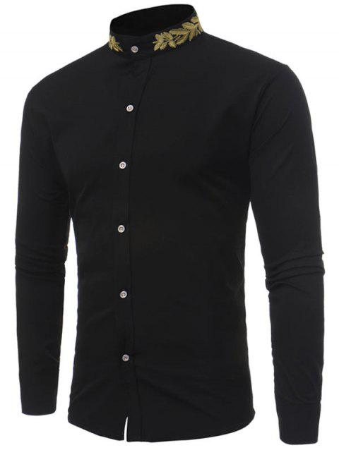 Mandarin Collar Plant Embroidery Shirt - BLACK XL