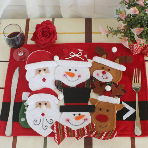 Christmas Tableware Decor 6Pcs Knives And Forks Bags - COLORFUL