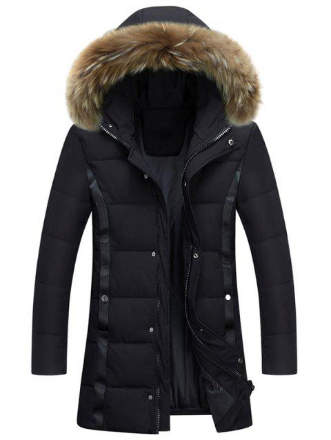 Zipper Up Faux Fur Hood Padded Coat - BLACK 3XL