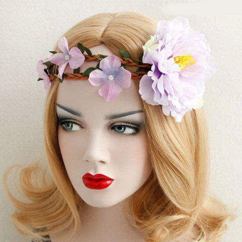Elastic Leaf Flower Braid Wreath Hairband - LIGHT PINK