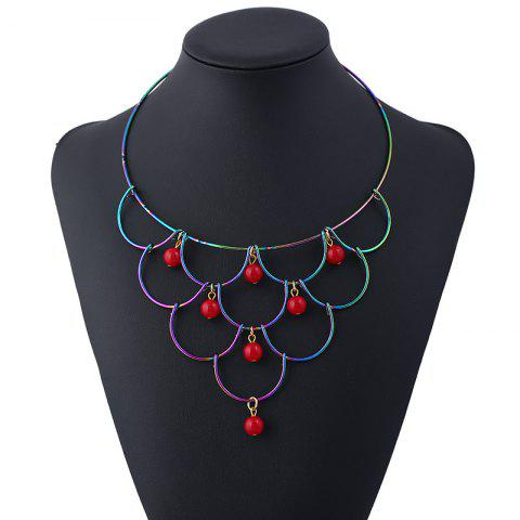 Alloy Layered Circle Beads Necklace - RED