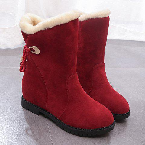Tassels Low Heel Snow Boots - WINE RED 40