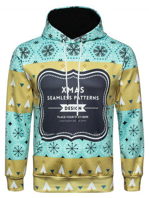 Snowflake Graphic Print Christmas Hoodie - COLORMIX 3XL