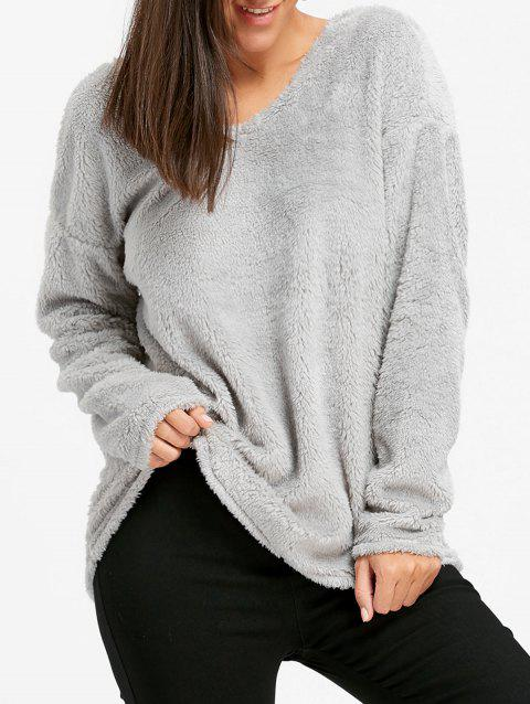 V Neck Cut Out Fuzzy Sweater - GRAY XL