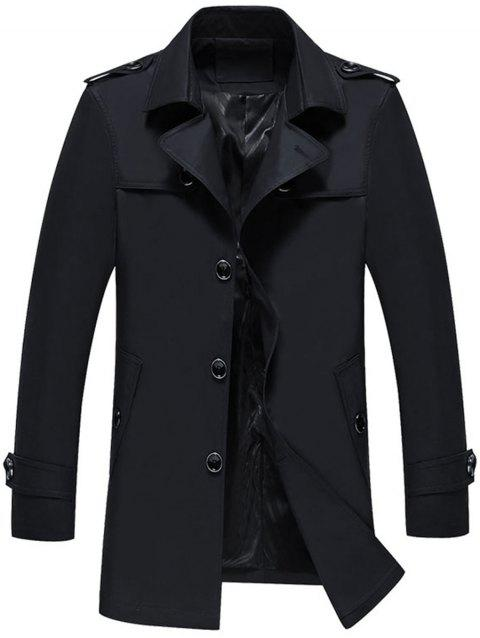 Single Breasted Epaulet Trench Jacket - BLACK L