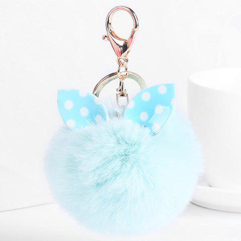 Cute Fuzzy Rabbit Ears Ball Keychain - LIGHT GREEN