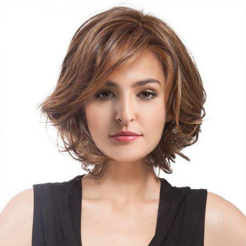 Short Inclined Bang Fluffy Curly Colormix Synthetic Wig - COLORMIX