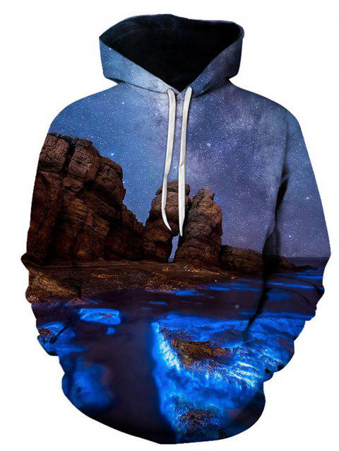 3D Galaxy Print Trippy Pullover Hoodie - COLORMIX L