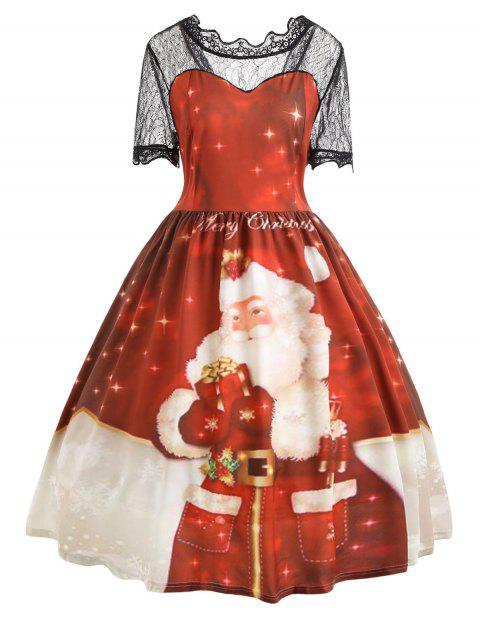 093b0445c03a 41% OFF] 2019 Merry Christmas Santa Claus Lace Plus Size Dress In ...