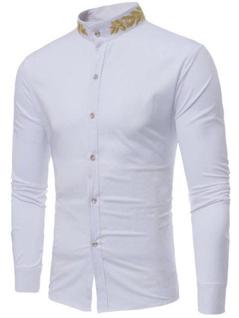 Mandarin Collar Plant Embroidery Shirt - WHITE L