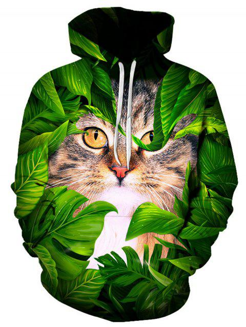 3D Cat Leaves Print Pullover Hoodie - COLORMIX XL