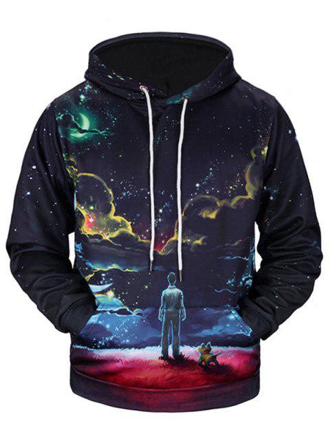Galaxy Figure 3D Print Pullover Hoodie - COLORMIX L