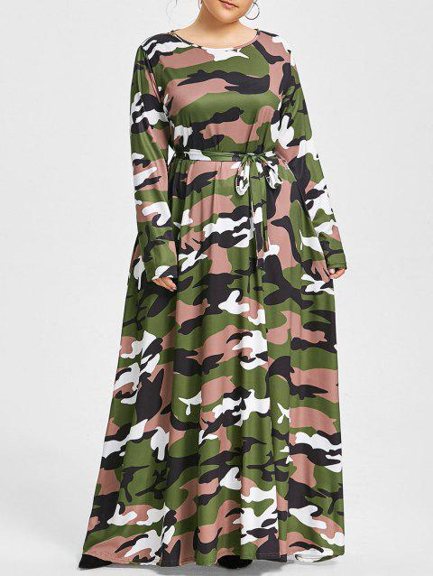 Plus Size Belted Camo Maxi Dress