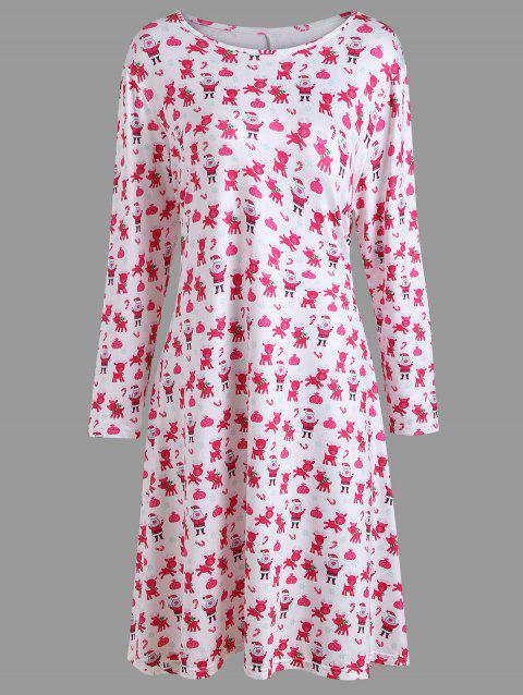 Plus Size Christmas Casual Dress with Sleeves - PINK 3XL