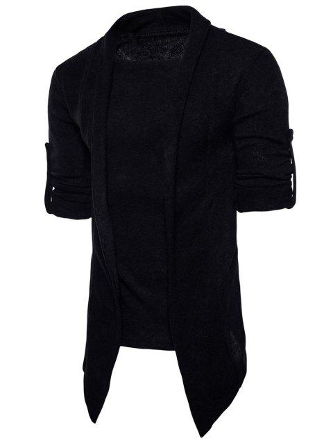 Faux Twinset Panel Knitted Asymmetric Cardigan - BLACK L