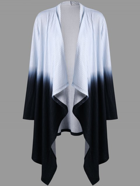 Plus Size Ribbed Ombre Color Asymmetric Cardigan - COLORMIX XL