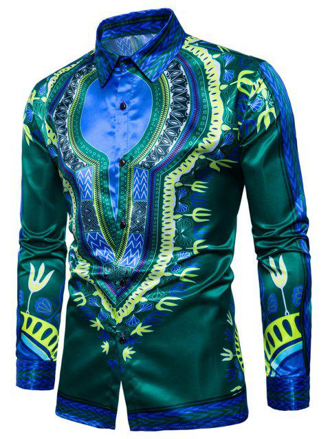 Tribal Print Color Block Long Sleeve Shirt - GREEN S