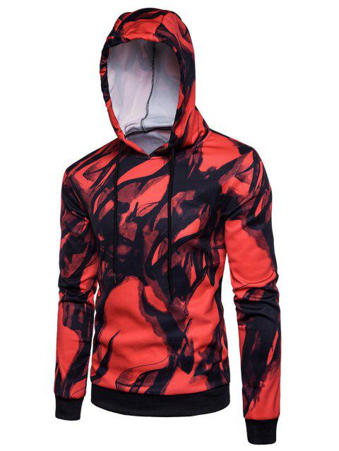 3D Ink Wash Painting Print Pullover Hoodie - RED L