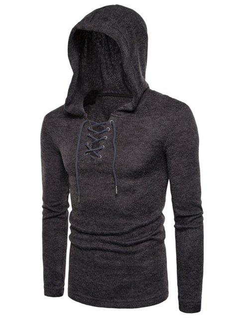 Hooded Lace Up Knitted Pullover Sweater - DEEP GRAY M