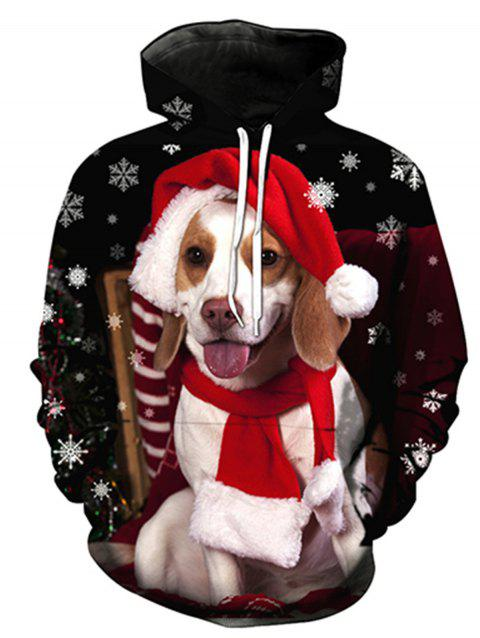 3D Christmas Dog Print Pullover Hoodie - COLORMIX XL