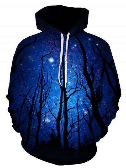 3D Galaxy Tree Print Trippy Pullover Hoodie - COLORMIX XL