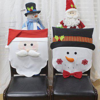 2Pcs Snowman Santa Pattern Christmas Decor Chair Back Covers - COLORFUL