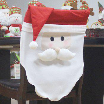 Dinner Decoration Santa Claus Pattern Chair Back Cover - RED/WHITE