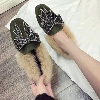 Rhinestone Bow Accent Faux Fur Suede Slip On Shoes - GREEN 38