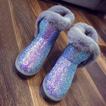 Low Heel Sequined Snow Boots - SILVER 40