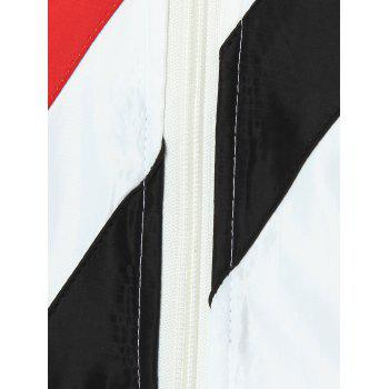 Colorblocked Appliqued Zip Up Jacket - WHITE 2XL