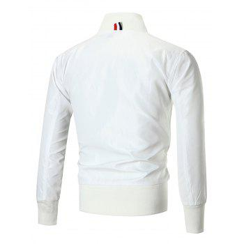Colorblocked Appliqued Zip Up Jacket - WHITE L