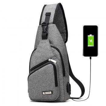 USB Charging Port Chest Bag - GRAY GRAY