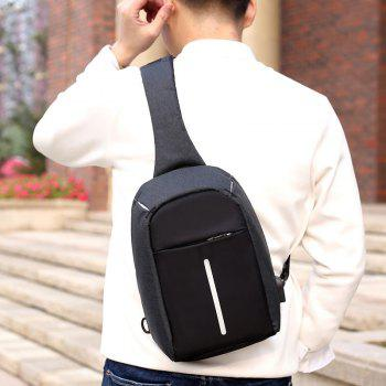 USB Charging Port Line Chest Bag - BLACK