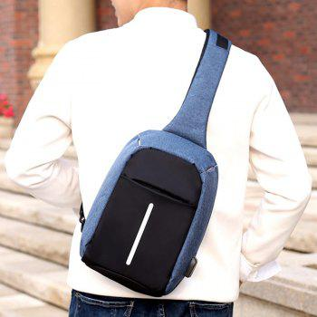 USB Charging Port Line Chest Bag - BLUE