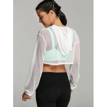 Sports Mesh Voir à travers Hoodie Crop - Blanc M