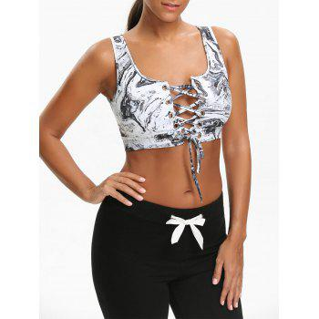 Sports Abstract Printed Cutout Lace Up Bra - GREY WHITE GREY WHITE