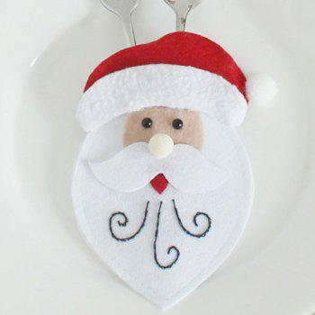 Santa Claus Patterned Tableware Knife And Fork Bag - RED/WHITE