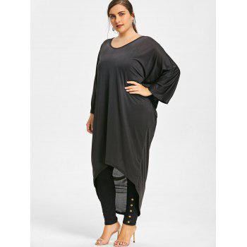 Plus Size V Back Cutout High Low Tunic Top - BLACK 2XL