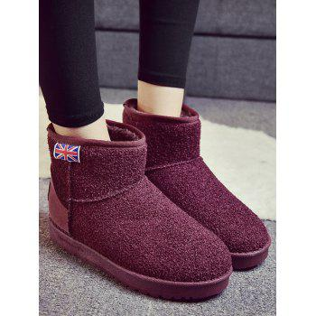 The Union Flag Warm Snow Ankle Boots - WINE RED 39